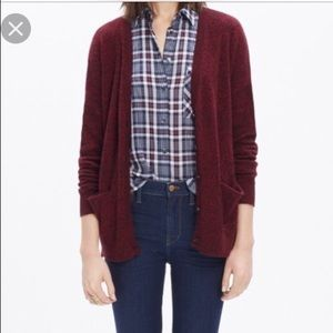 Madewell Burgundy Texturework Button up Cardigan
